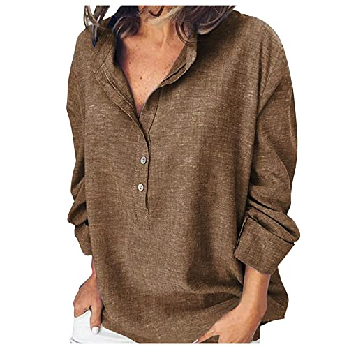 Women Cotton Linen Blouse Casual Loose Tunic Shirts Solid Button Tops Long Sleeve T-Shirt Blouses