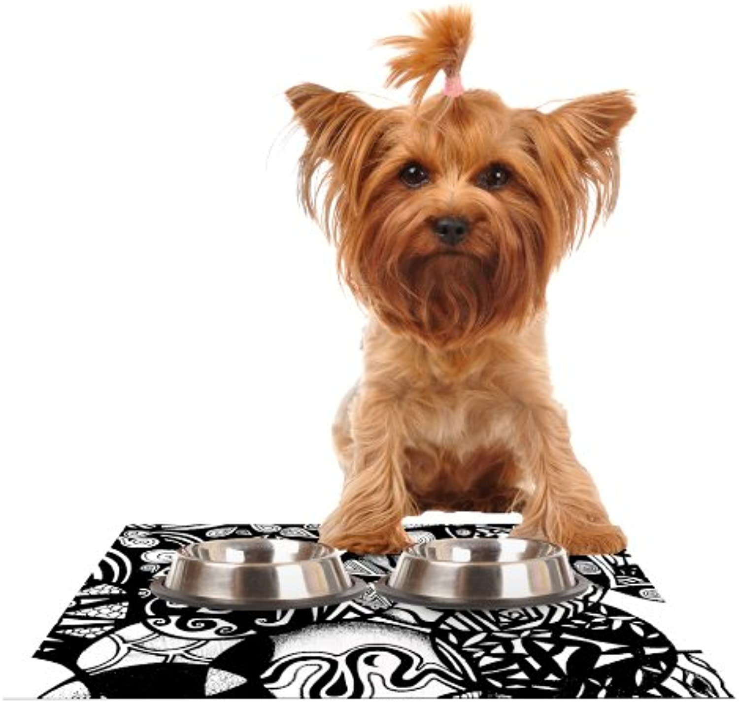 Kess InHouse Pom Graphic Design Circles and Life  Feeding Mat for Pet Bowl, 18 by 13Inch