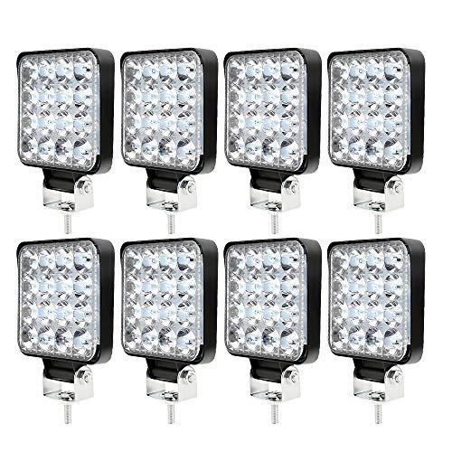 8 x phare de travail LED 12V 24V Feu de Travail 16 LED 48W, Lumières de travail hors route profondeur étanche IP67 pour tracteur de moto voiture camions ATV SUV (8pcs 48W)