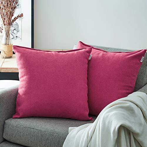 Topfinel Kissenbezüge Einfarbig Chenille Dekokissenhülle mit Verstecktem Reißverschluss für Sofa Auto Bett 2er Set 40x40 cm Erikaviolett