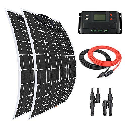 Giosolar Solarpanel, 200 W, Flexibles Solarmodul, Batterie-Ladegerät, monokristallin, 20 A LCD-Display, Laderegler für Boot, Wohnwagen, Off-Grid