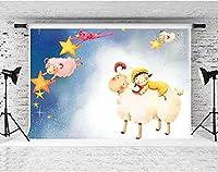 HD漫画のテーマの背景羊の女の子の星の背景キッズパーティーの写真の背景写真スタジオの写真の背景小道具10x7ftFSYM152