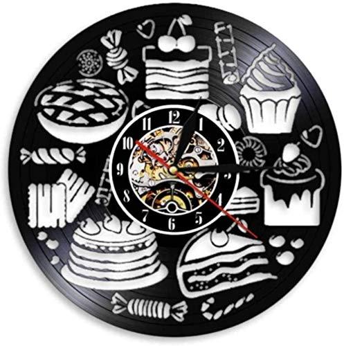 Brot Süßigkeiten Cupcake Wandkunst Uhr Bäckerei Zeichen Wand Dekor Gebäck Vinyl Schallplatte Wanduhr Süßwaren Küche dekorative Uhr
