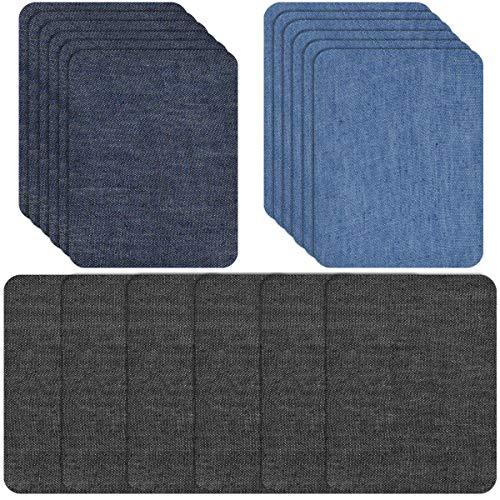 Jinlaili Patches zum Aufbügeln, Flicken zum Aufbügeln, Jeans Bügelflicken für Denimreparatur, Aufbügelflicken Baumwolle Flicken Bügelflicken Bügeleisen Denim Patches Jeans Reparatursatz Set (18PCS)