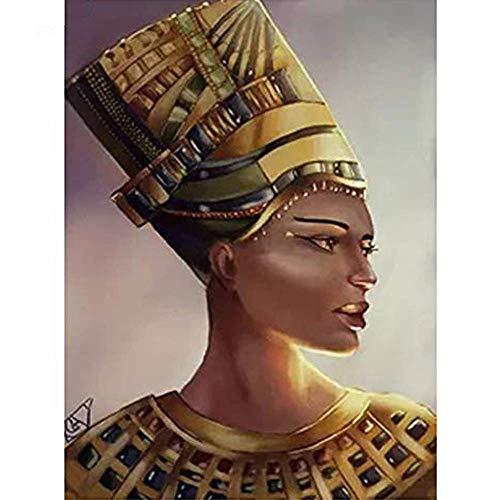 Qxuztq Kits De Pintura De Diamante Bricolaje para Adultos - Mujer egipcia Diamond Painting 30x40cm - Diamantes de Cristal de imitación Lienzo Decorativo para