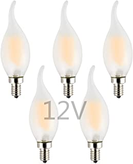 OPALRAY Low Voltage DC 12V 2W LED Candelabra Bulb, Dimmable with 12Volt DC Dimmer, 2700K Warm White Light, E12 Small Base, 25W Incandescent Replacement, Solar System 12V Battery Power, 5-Pack