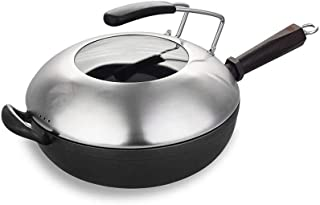 XXDTG Wok à fond plat for cuisine asiatique, acier au carbone avec couvercle et spatule for sauté
