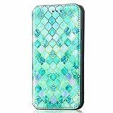 TYWZ RFID Blocking Slot per Schede Wallet Cover per Samsung Galaxy Note 10 Lite,Libro Custodia Flip Portafoglio Case in PU Pelle con Magnetica Folio-Verde Gemma