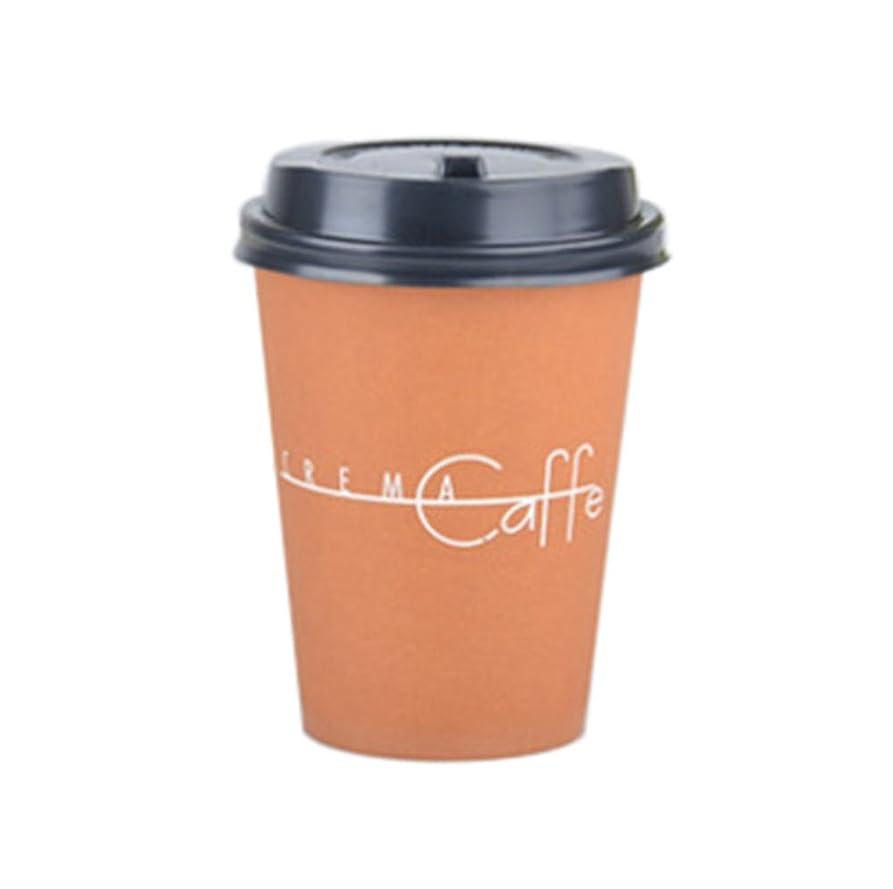 体細胞踊り子数学的な(ハッピー?ライフ)Happylife 紙コップ ふた付き コーヒー 業務用 紙カップ 耐熱 使い捨て 50個入り 2#+黒フタ