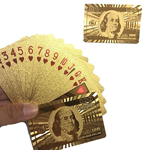 greenwoodhomer Wasserdichte goldene Spielkarten, langlebige Verwendung, Goldfolie, Poker-Spielkarten