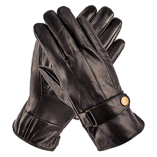 Pierre Cardin Sheepskin Leather Gloves for Men for Driving, Winter with Snaps