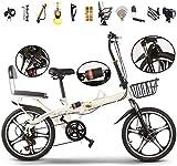 Bicicleta de montaña plegable de 20 pulgadas, suspensión completa, bicicleta de montaña, 6 velocidades, frenos de disco duales, para hombres y mujeres.