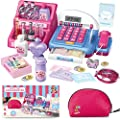 Shop N' Play Beauty Salon Cash Register Playset for Girls w/ Pretend Play Calculator, Money, Scanner, Credit Card & Makeup, Realistic Actions & Sounds, Educational Counting Toy for Kids 3-6 Years Old by MOBIUS Toys