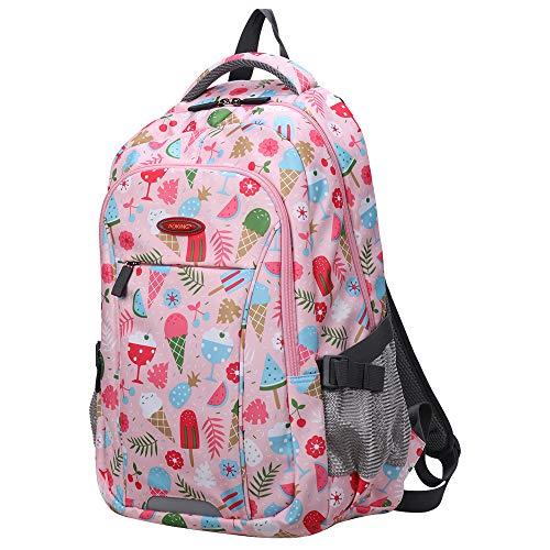 Aoking Bolso Impreso para niñas de Escuela Secundaria Primaria, Mochila Informal, Mochila de Viaje Impermeable (Helado)