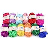 INSEET 12 Farben Handstrickfaden Wolle Natürliches DIY Weichgarn Perfekt zum Stricken von...