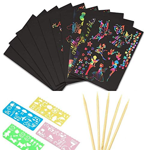 kratzbilder für kinder kratzbilder, 50 Stück Regenbogen Magie Kratz Zeichenpapier, Kratzzeichnung Zeichnung Graffiti-Set