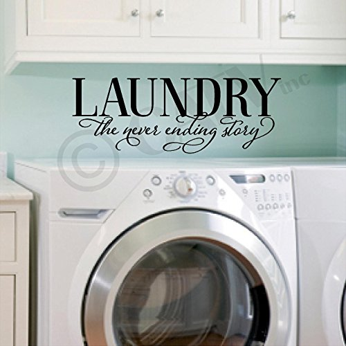 Laundry the Never Ending Story Vinyl Lettering Wall Decal Sticker Black 10H x 27L