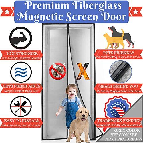 Grey Magnetic Screen Door With Upgraded Fire-Resistant Fiberglass Mesh | Fit Doors up to 34 x 82 inch | 100% Satisfaction & Guranteed