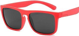 QPRER - Gafas De Sol,Rojo Rectángulo Silicona Clásico Niña IR De Compras Calle Gafas De Sol Verano Niños Diario Al Aire Libre Gafas Niño Seaside Party UV Cumpleaños Regalo del Día del Niño