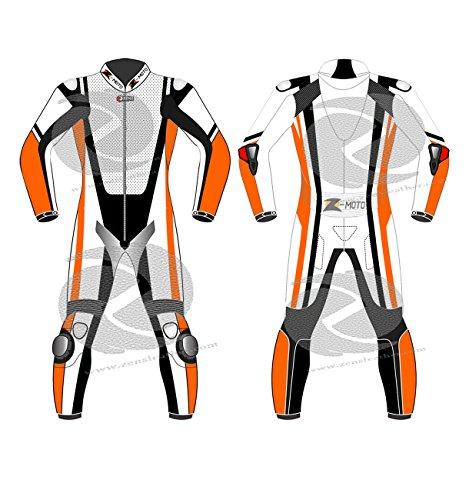 Racing Motorrad Lederanzug Brauch in orange und weiß Geschwindigkeit Buckel gemacht (Maßarbeit)