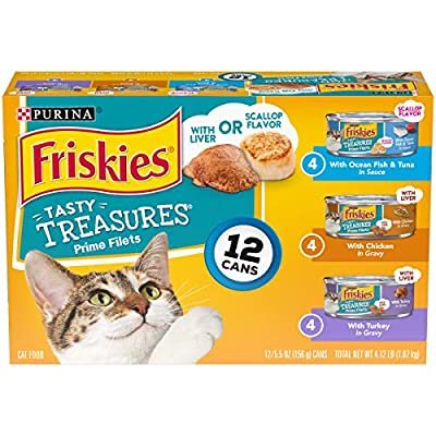 Purina Friskies Tasty Treasures Prime Filet Cat Food Variety Pack - (12) 5.5 oz. Cans (packaging may vary)