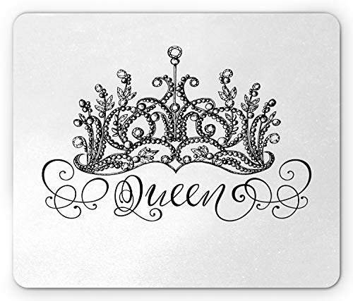 Ambesonne Queen Mouse Pad, Hand Drawn Crown with Queen Lettering Baroque Style Elements Calligraphy, Rectangle Non-Slip Rubber Mousepad, Standard Size, Black and White