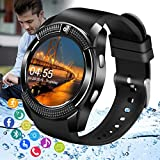 Smart Watch,Android Smartwatch Touch Screen Wrist Phone Watch with SIM Card Slot & Camera Bluetooth Smart Watch for Android Phones Waterproof Sports Fitness Tracker Watch for Kids Men Women Black