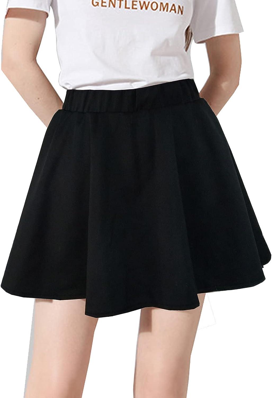 TONCHENGSD Women's Basic Versatile Stretchy Flared Casual Mini Skater Skirt