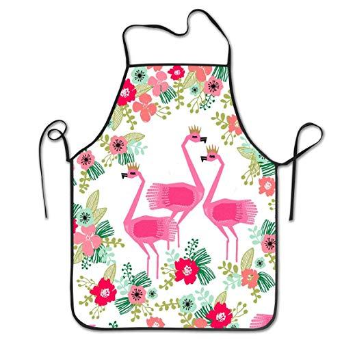 Lawenp Delantal con Pechera Ajustable Delantal Cosido, Flamingo Florals Tropical Summer Cooking Delantales de Cocina para Mujeres Hombres Chef, BBQ 28.3 x 20.5 Pulgadas