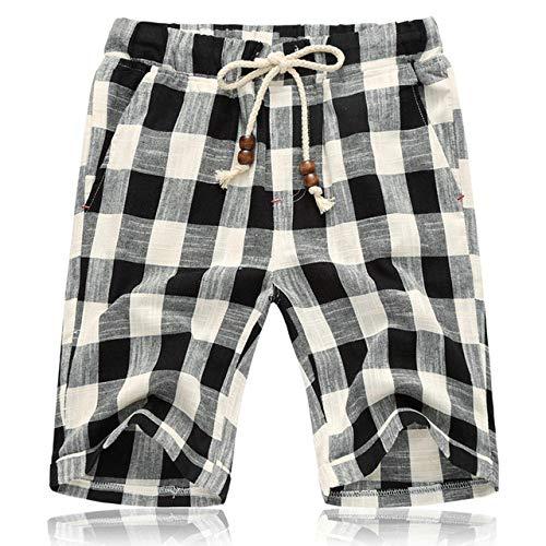 marche Estate Nuovo Cotone Lino Pantaloncini Casual Uomini Griglia Mens Pantaloncini Confortevole Maschio Beach Shorts Nero L