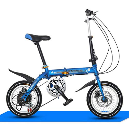 Qinmo 16 Zoll faltendes Fahrrad Variable Speed ​​Dual Disc Brakes Ultra Light Männer und Frauen Personality Mini Mode Kinder Fahrrad Mountainbike (Color : Blue)