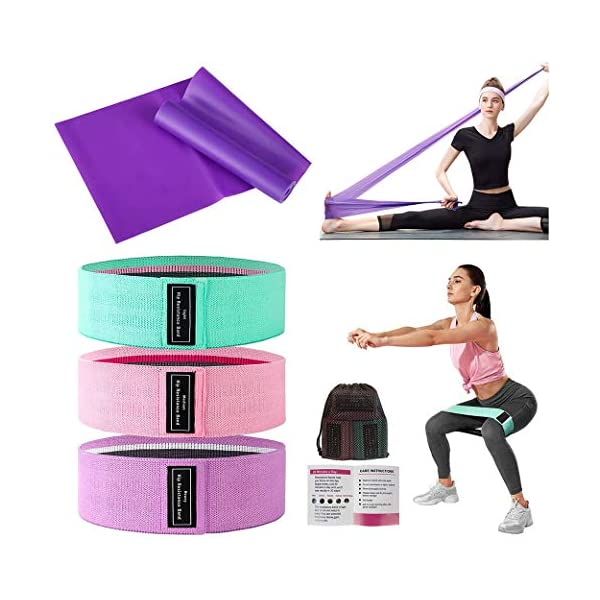 QDH Resistance Bands for Women,3+1 Pack Exercise Bands for Legs and Butt Non Slip Elastic Workout Bands Women Booty Bands Fitness Bands for Squat Glute Hip Training