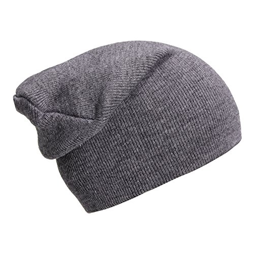 DonDon Bonnet Slouch Beanie pour l'hiver avec Design Classique et Moderne Gris Platine