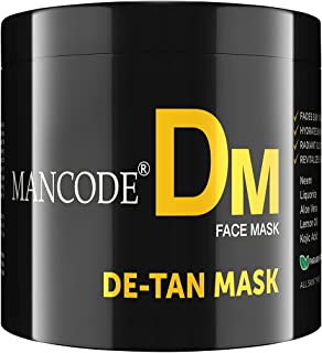 MANCODE De-Tan Mask, For Tan Removal, Radiant Glow, Infused with Aloevera, Liquorice,and Vitamin C & E, Suitables all Skin...