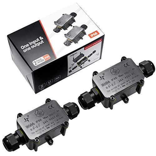Abzweigdose IP68 Anschlussdose Wasserdichte Verteilerdose für 4-9 mm Durchmesser Kabel 2 Wege Kabelverbinder Schwarz (2 Stück)