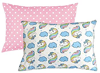 Toddler Pillowcase 2 Pack Set 100% Cotton 200 Thread Count Fits 13x18 and 14x19 Toddler Pillows by Dreamtown Kids  Unicorn Pink