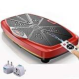 LIUXR Plataforma Vibratoria, con Pantalla LCD + Altavoces Bluetooth Entrenamiento de Cuerpo Entero Plataforma Vibratoria Multifunción Ultra Delgado Plataforma Vibratoria,Red_56*35 * 13.5cm