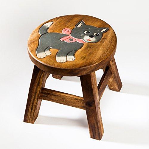 Taburete infantil, silla infantil maciza de madera con diseño de gato, 25 cm de altura de asiento para muebles infantiles
