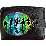 Klassek Portefeuille en cuir véritable pour homme avec poche pour monnaie et boîte cadeau en métal Noir
