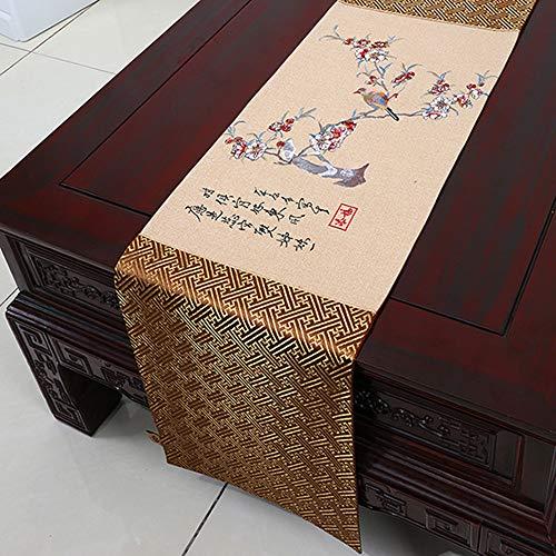 Couvre-Chaussures, Nouveau Tapis de thé Zen, Drapeau de Table en Lin de Coton, Meuble de télévision, Drap rectangulaire(B; 33 * 150cm)