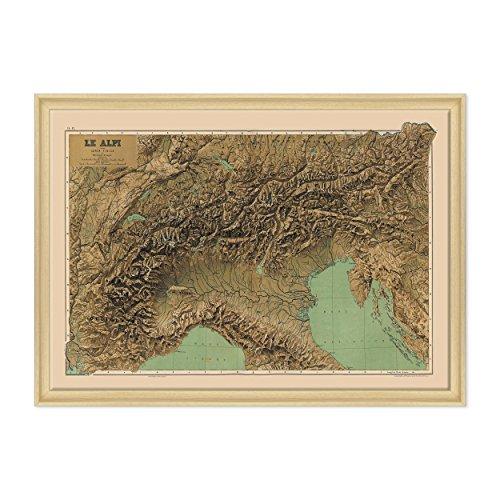 Afbeelding op canvas, ingelijst, met lijst, Italiaanse kaart, Le Alpi, Touring Club Italië, noord-montagekaart 70 x 100 cm, moderne stijl, natuurlijk hout