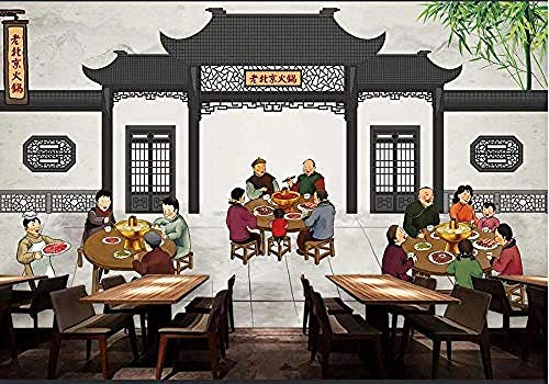 Behang 3D oud Peking Hot Pot restaurant eetkamer gereedschap wand woonkamer slaapkamer tv sofa achtergrond muurschildering 3D behang 200 x 140 cm.