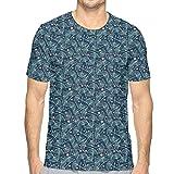 AIQIIA Mens 3D Printed T Shirts,Hand Drawn Style Ginkgo Biloba Leaves and Dots on Dark Blue L