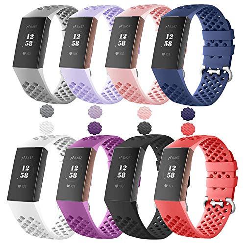 Reety Kompatibel für Fitbit Charge 3 Armband, Sport Atmungsaktives Silikon Ersatz Verstellbares Zubehör Band für Fitbit Charge 3 & SE Fitness Tracker für Frauen Herren Small Large,8-Colour Set, Large