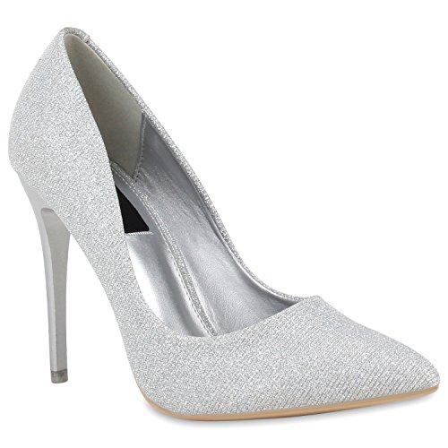 Spitze Damen Pumps Stiletto High Heels Lack Glitzer Party Denim Snake Velours Elegante Abend Schuhe 110147 Silber Bernice 36 Flandell