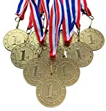 10 Pack of Gold 1st Place Medals Trophy Award with Neck Ribbons