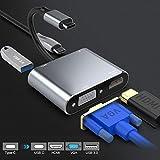 Rocketek USB C a VGA HDMI Adaptador, 4 en 1 Tipo C Hub a HDMI 4K VGA 1080P USB3.0 y 87W PD Multipuerto Adaptador para Nintendo Switch MacBook Pro/Lenovo/HP Samsung S9/Note 9/10+/Huawei Mate 10/20/P30