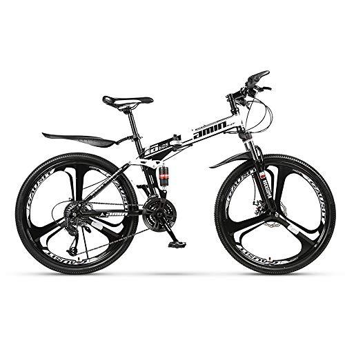 HDM Mountain Bike Pieghevole per Uomini e Donne Adulti, Bicicletta Sportiva da Montagna, MTB con 21/24/27-Stage Shift, 26 Pollici 3 Taglierina, Bianco (21 Marce,B)