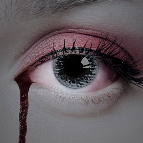 aricona Kontaktlinsen - schwarz-graue Kontaktlinsen - farbige Kontaktlinsen ohne Stärke für dein Halloween Kostüm