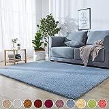 Shaggy Hochflor Langflor Einfarbig Teppich Blau 180 x 220 cm Teppichbodenmatte Wärmeisolierung 8 Stück Anti Rutsch Teppichunterlage für Schlafzimmer, Kinderzimmer oder Flur Läufer